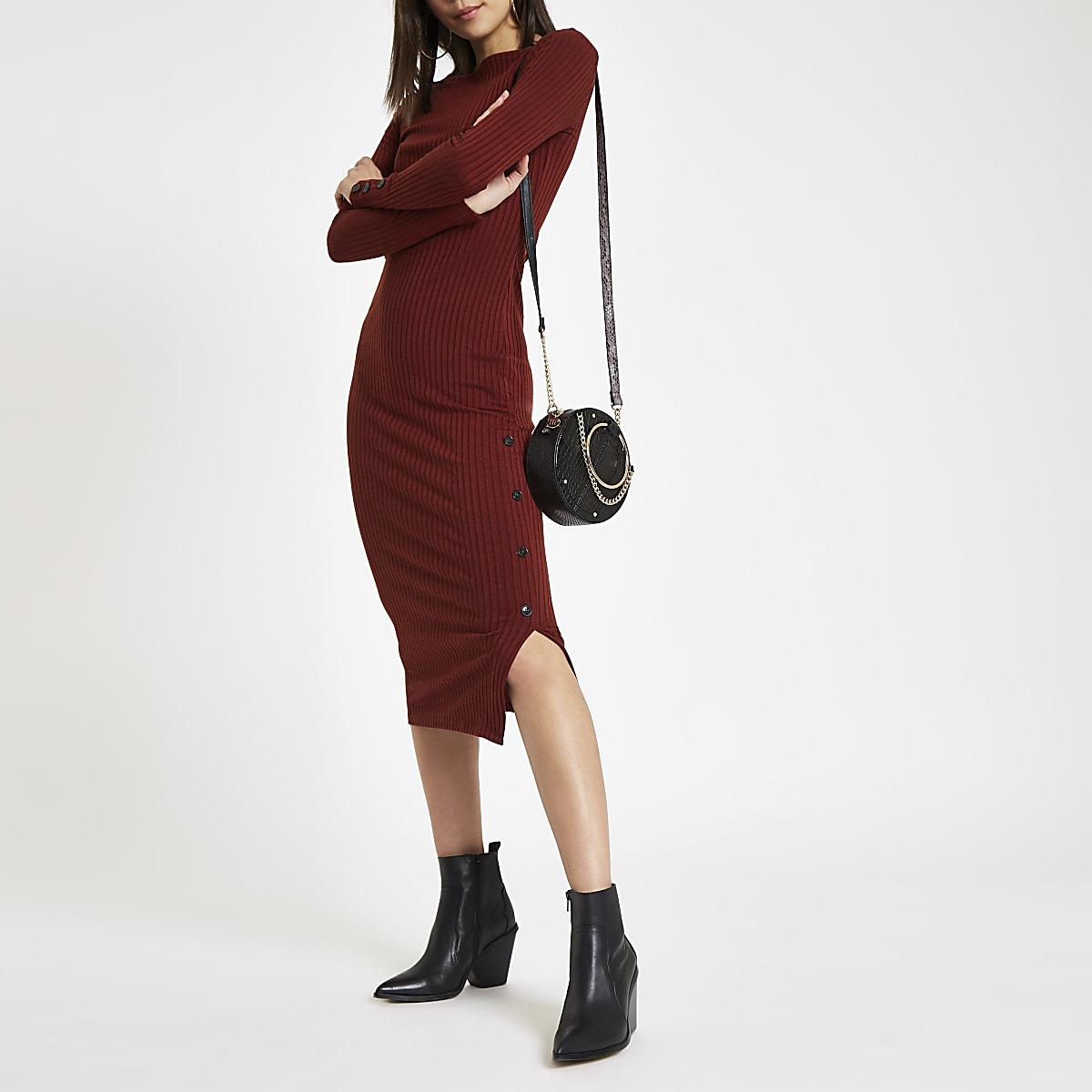 Dark red rib button side midi dress
