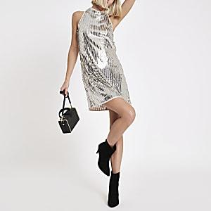 Silver sequin sleeveless swing dress