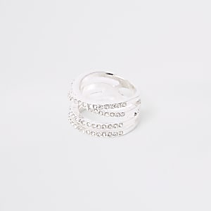 Silver color rhinestone double kiss ring