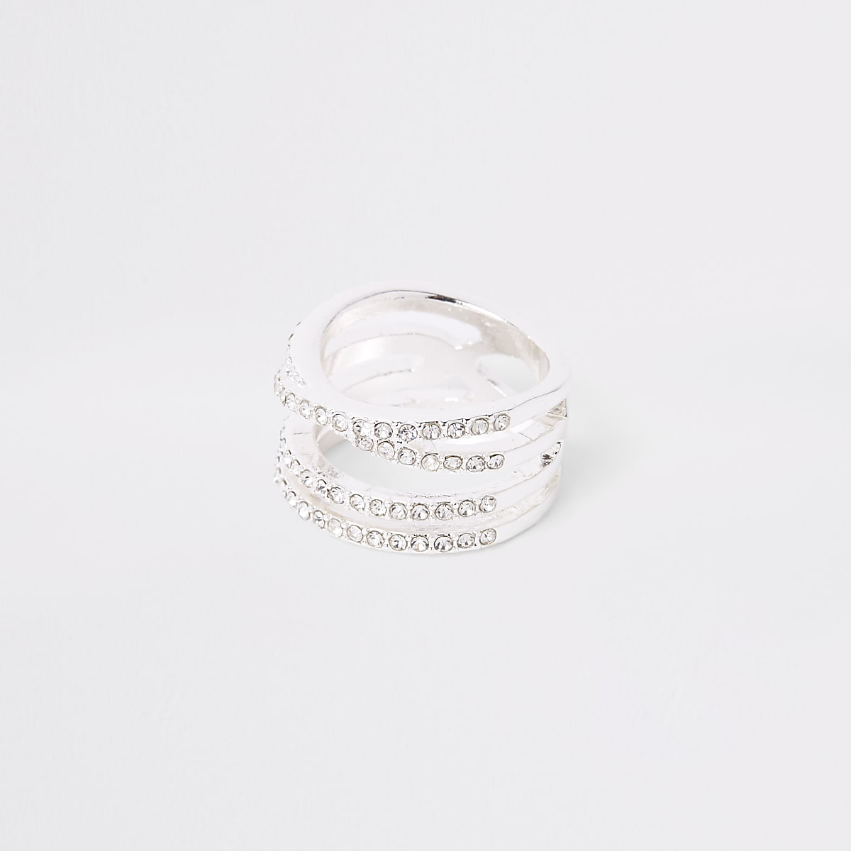Silver colour diamante double kiss ring