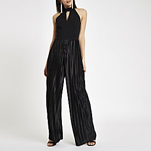 Black halter neck wide leg plisse jumpsuit