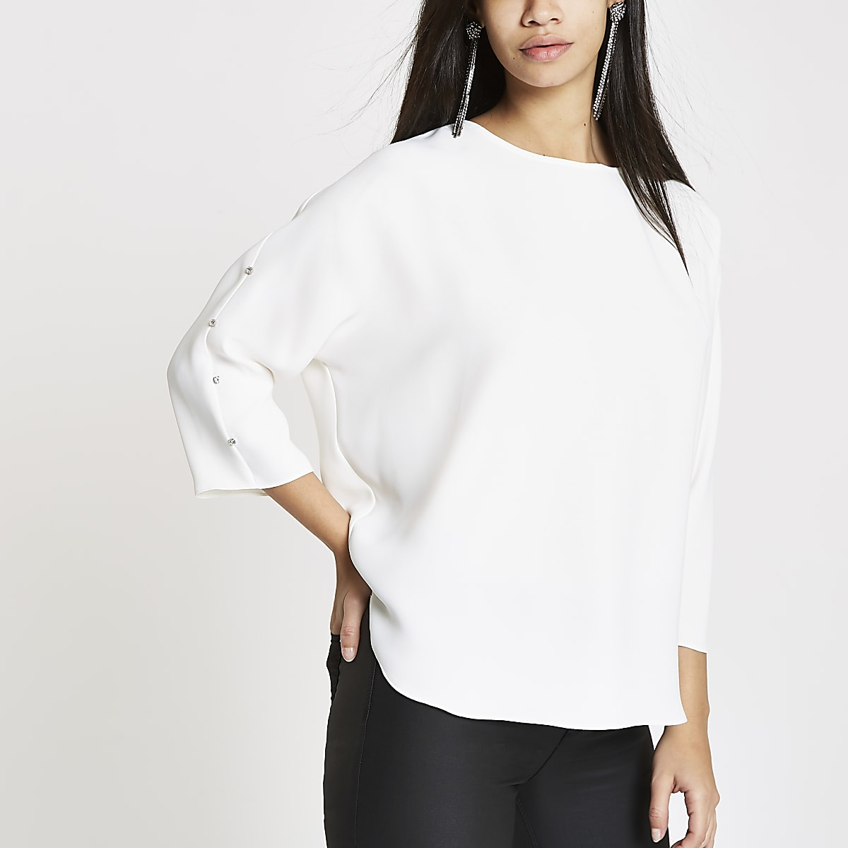 White loose fit diamante batwing top