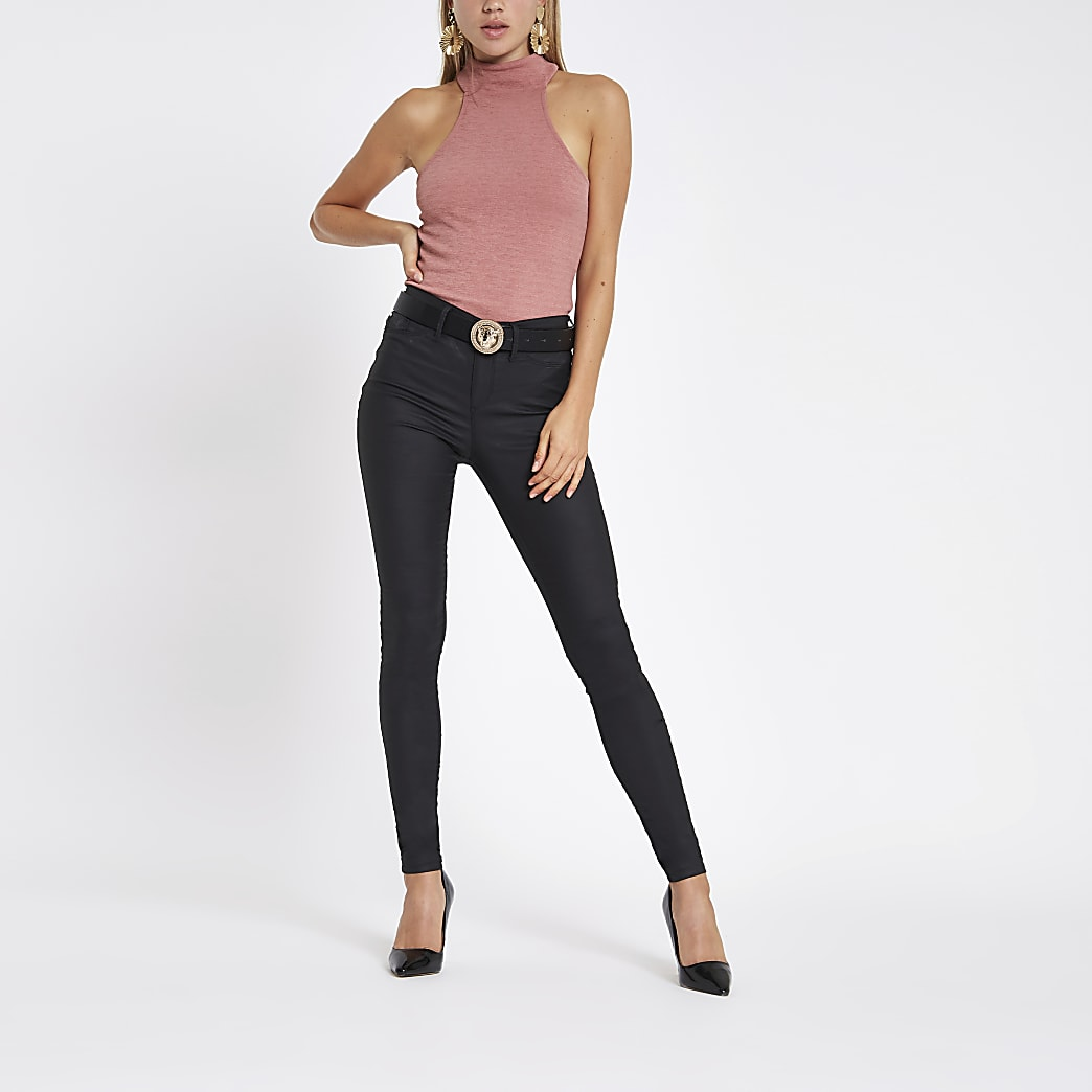 Pink high neck cut out bodysuit
