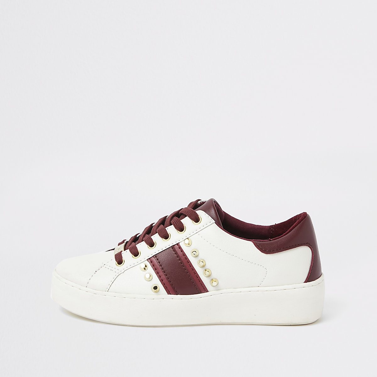 White studded lace-up side stripe trainers