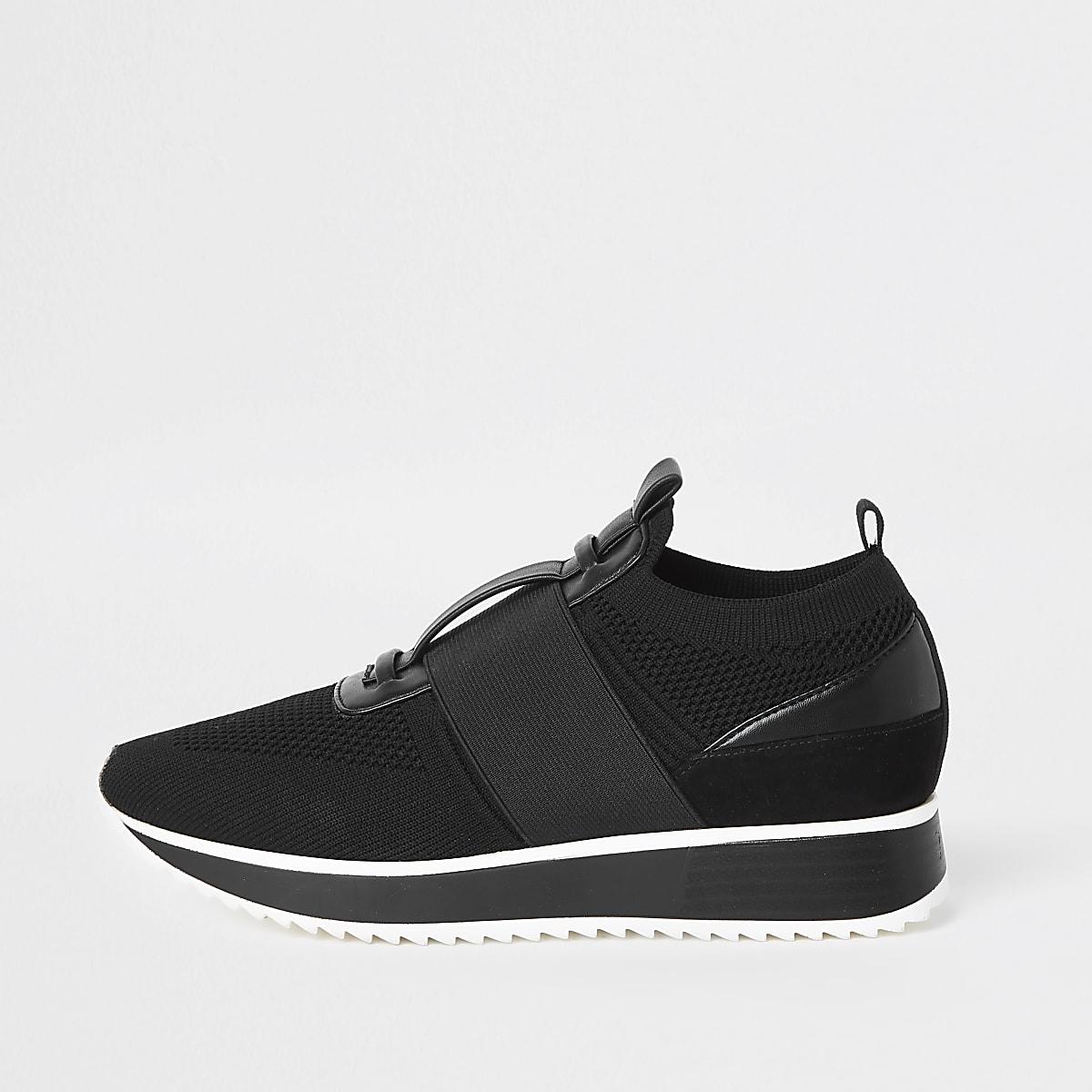 Zwarte gebreide elastische hardloopschoenen