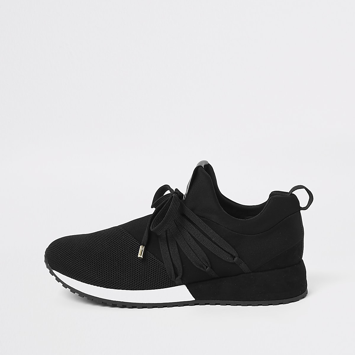 Black RI lace up runner sneakers