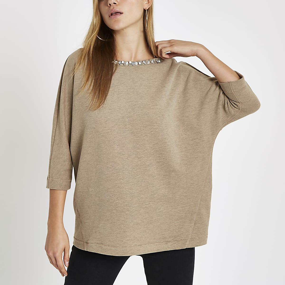 Beige embellished trim sweatshirt