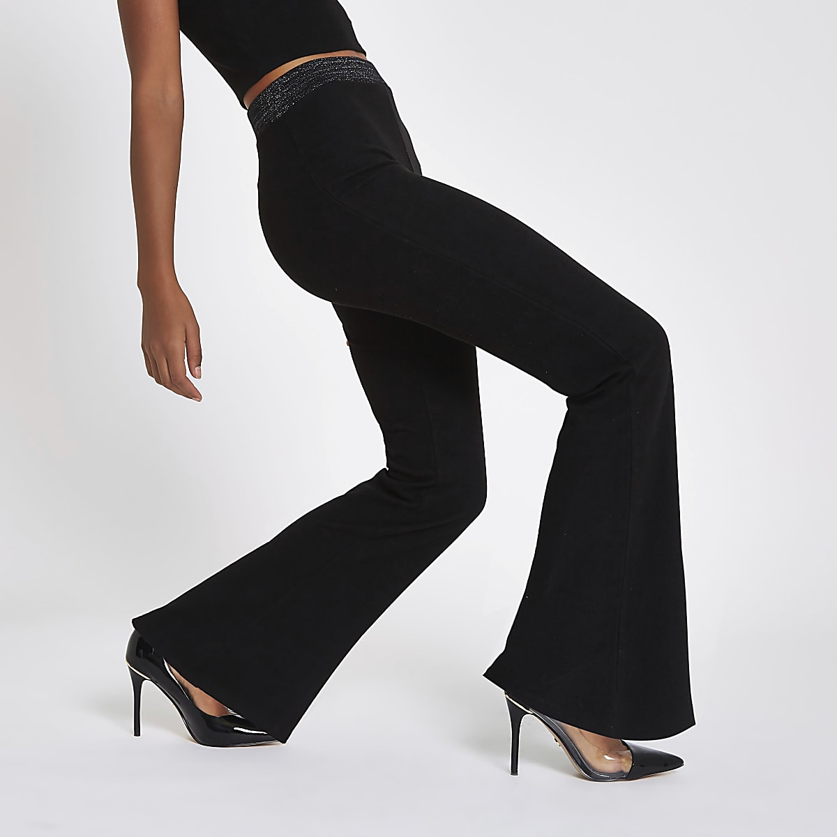 Black jersey wide leg metallic trousers