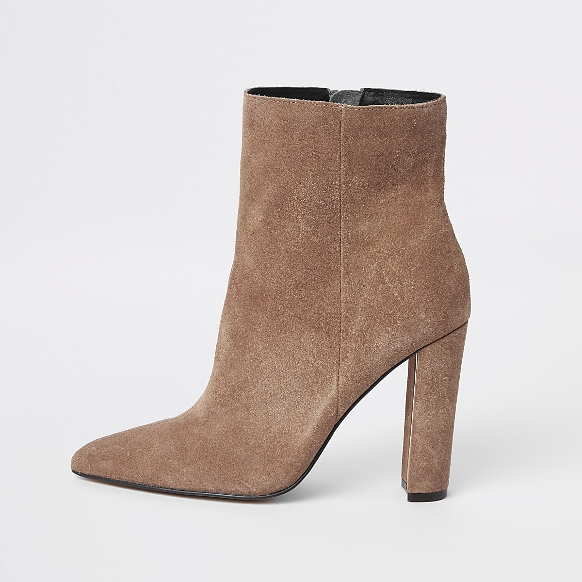 1c77d01344a Light brown suede pointed toe block heel boot - Boots - Shoes   Boots -  women