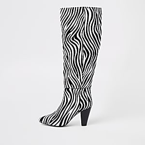 Black leather zebra print over the knee boots