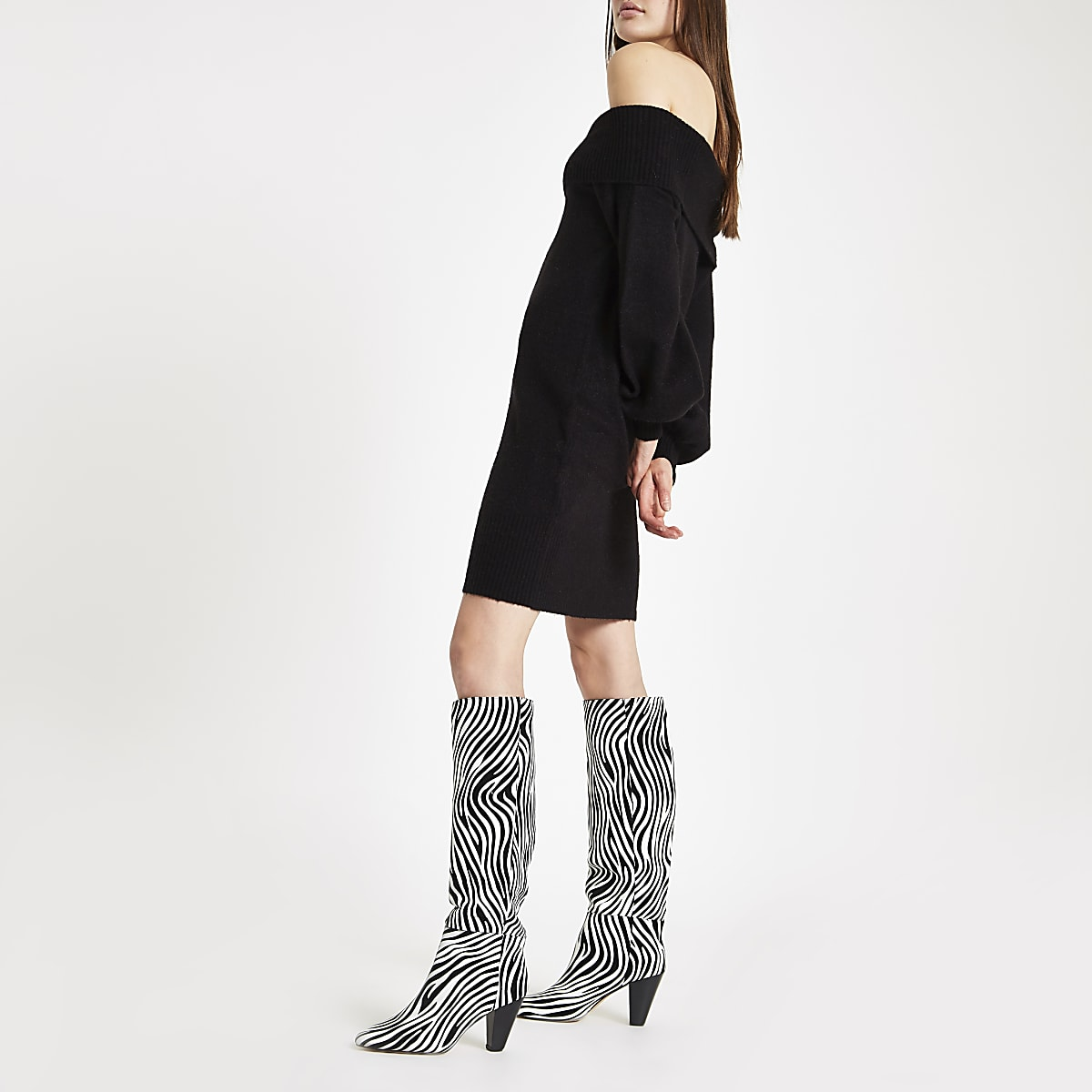 f6efe860a8a1 Black leather zebra print over the knee boots - Boots - Shoes ...