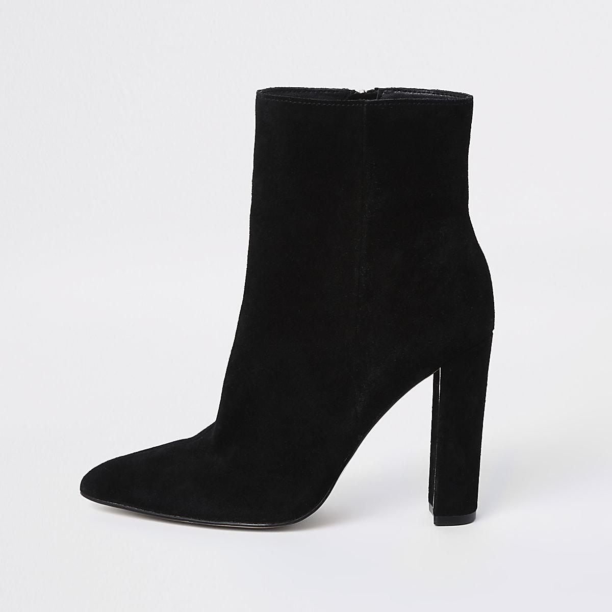 Black suede pointed toe block heel boot