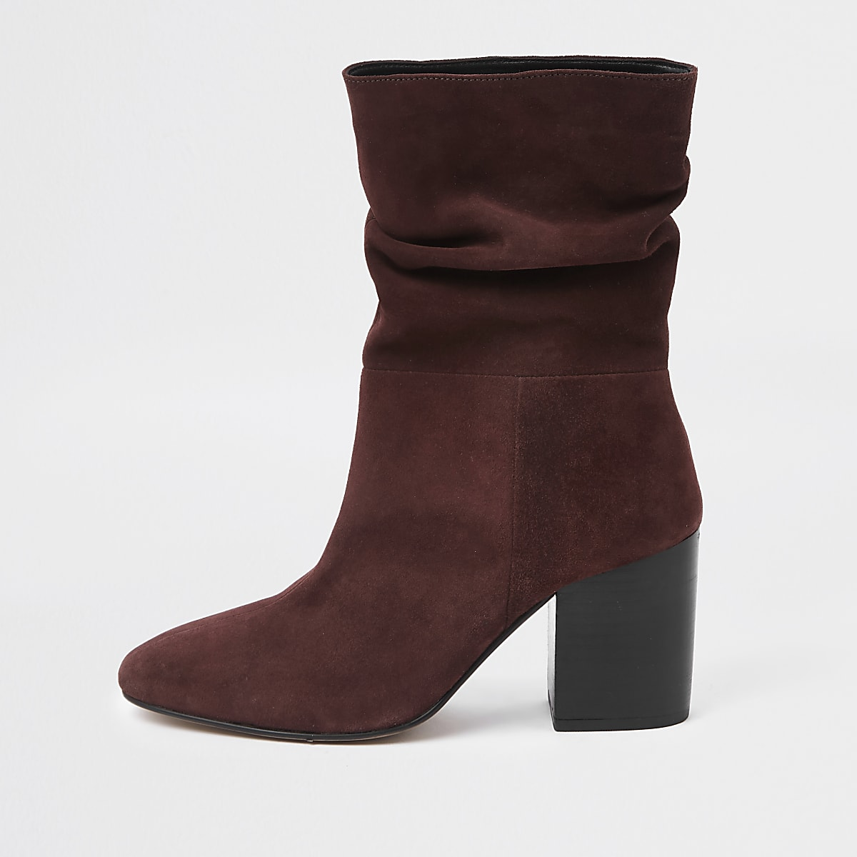 Dark red block heel slouch boots