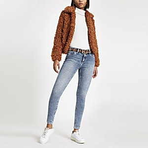 Molly - Lichtblauwe jegging met halfhoge taille
