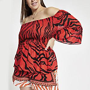 RI Plus - Rode bardottop met zebraprint