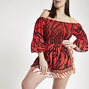 Plus – Rote Strandshorts mit Tigerprint