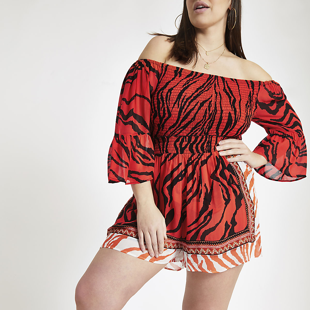 Plus red tiger print beach shorts