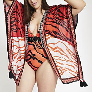 Plus red tiger print embellished kimono