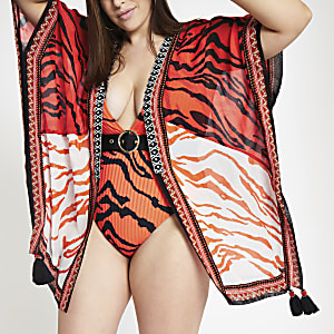 RI Plus - Rode verfraaide kimono met tijgerprint