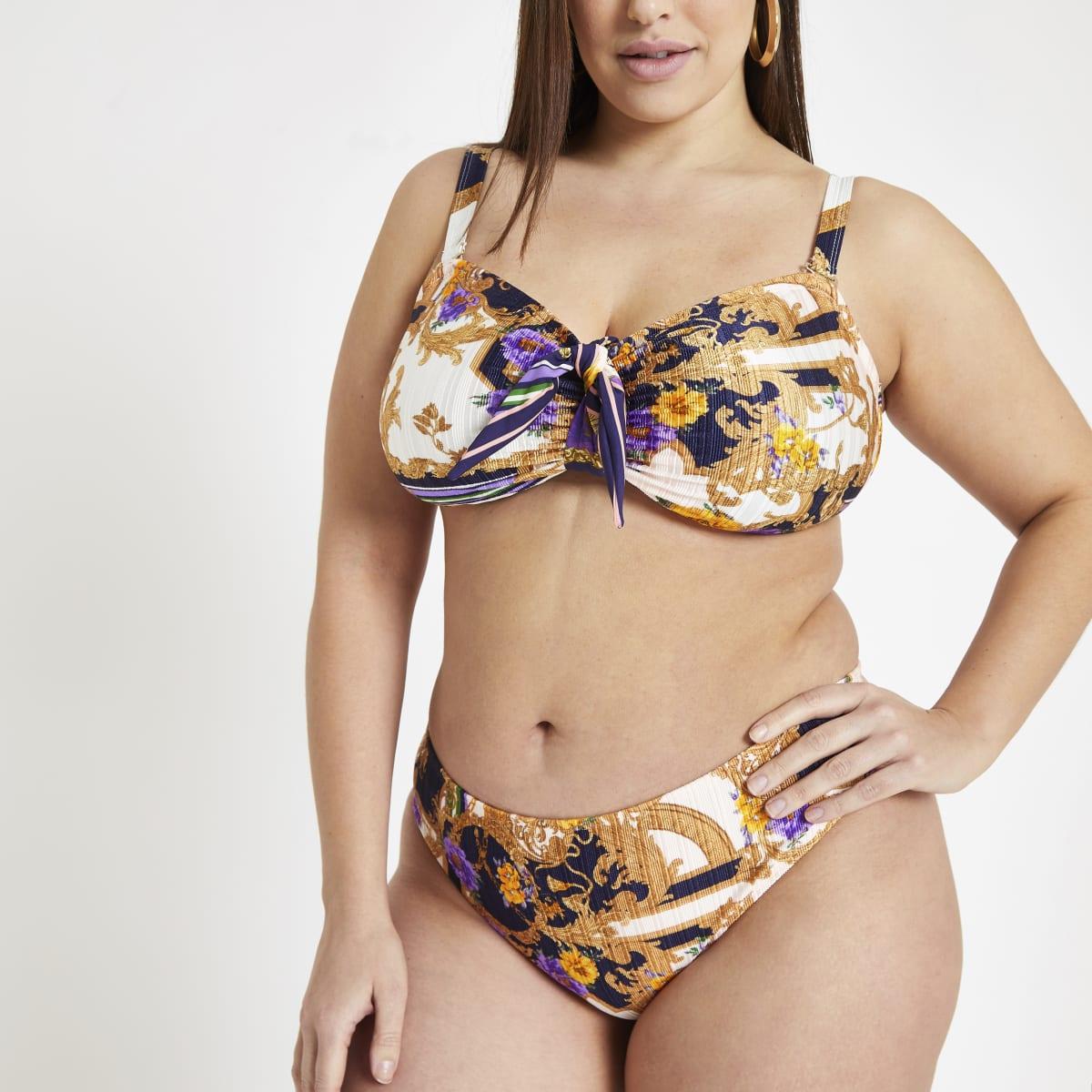 Plus navy scarf print bikini bottoms