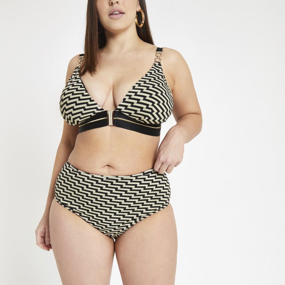RI Plus - Zwart bikinibroekje met zigzagmotief