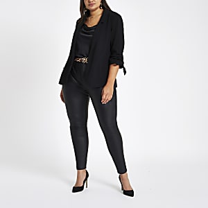 Plus black ruched sleeve blazer