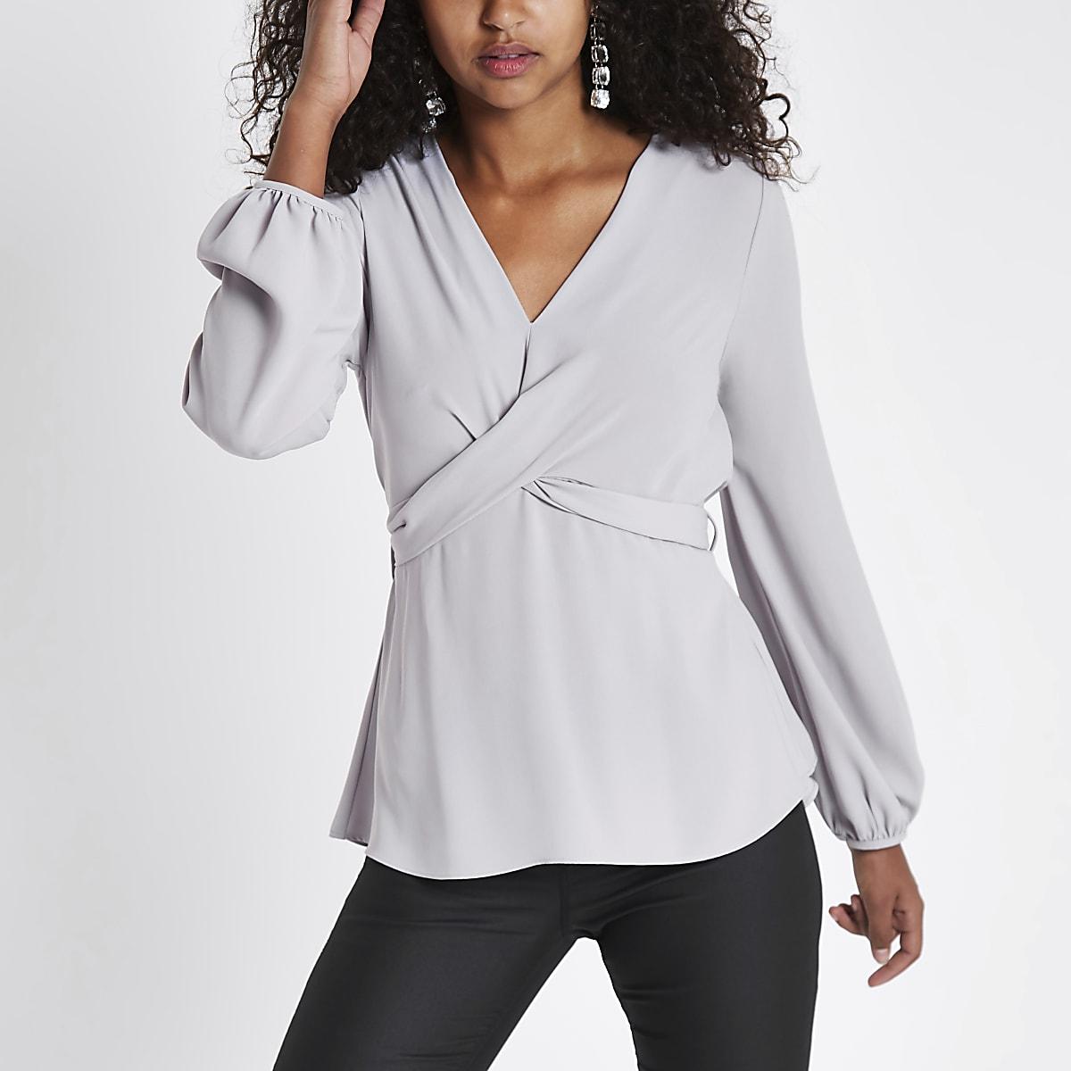 Light grey cross front tie back blouse