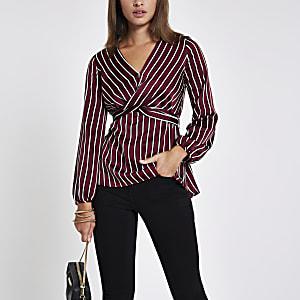 Dark red stripe cross front tie back blouse