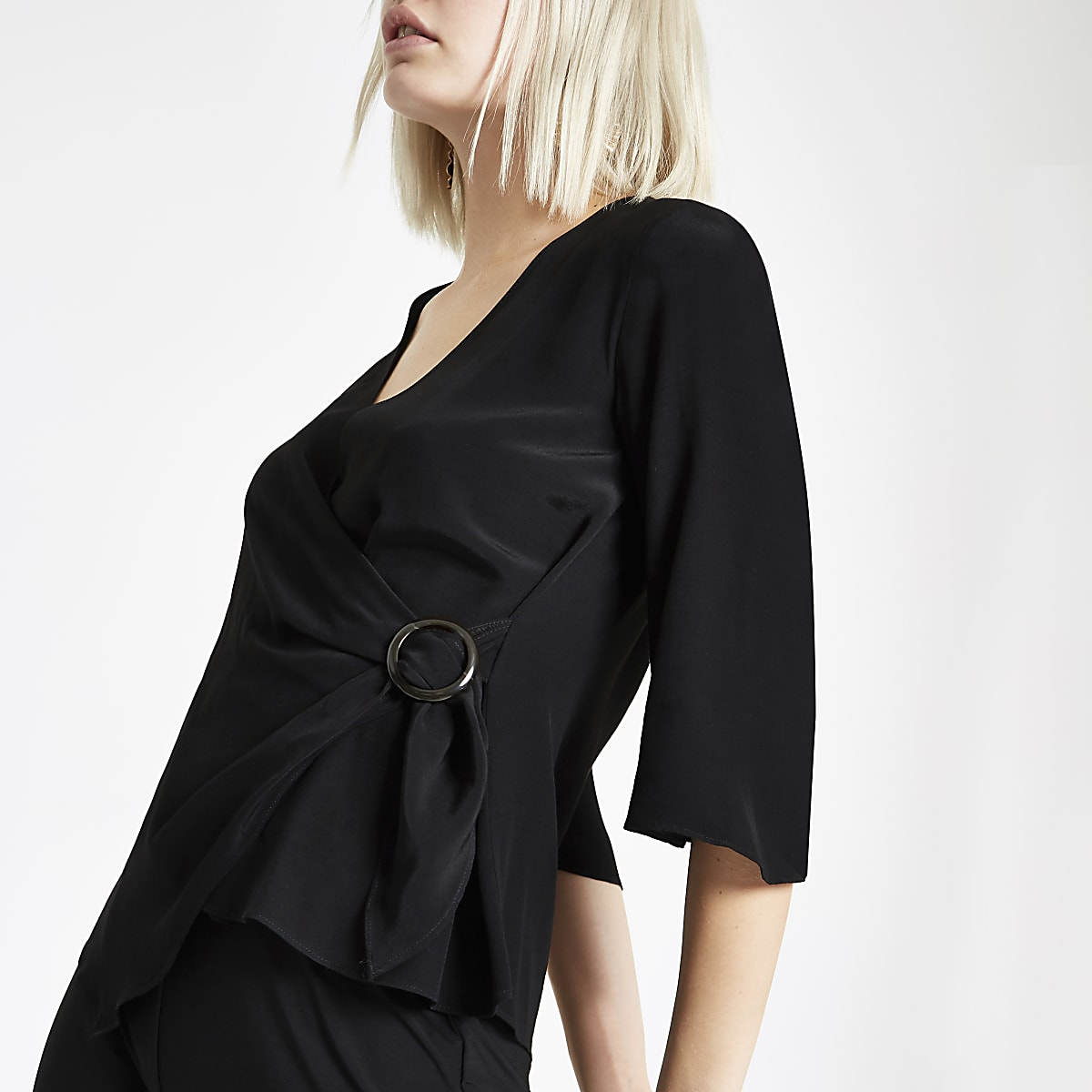 Black ring tie waist blouse
