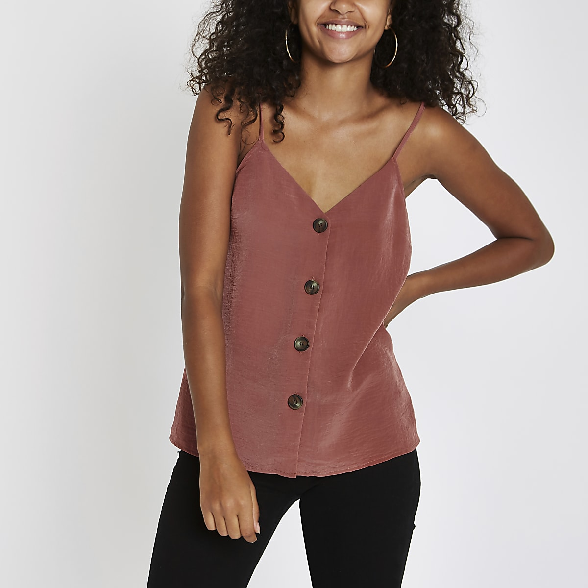 Copper button front cami top