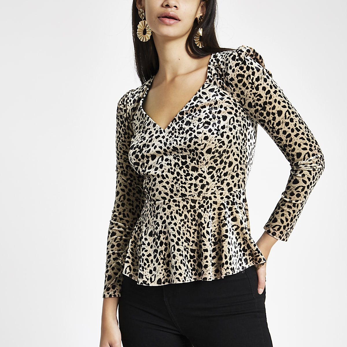 a86d00b32d2f3 Cream leopard print velvet long sleeve top - Blouses - Tops - women
