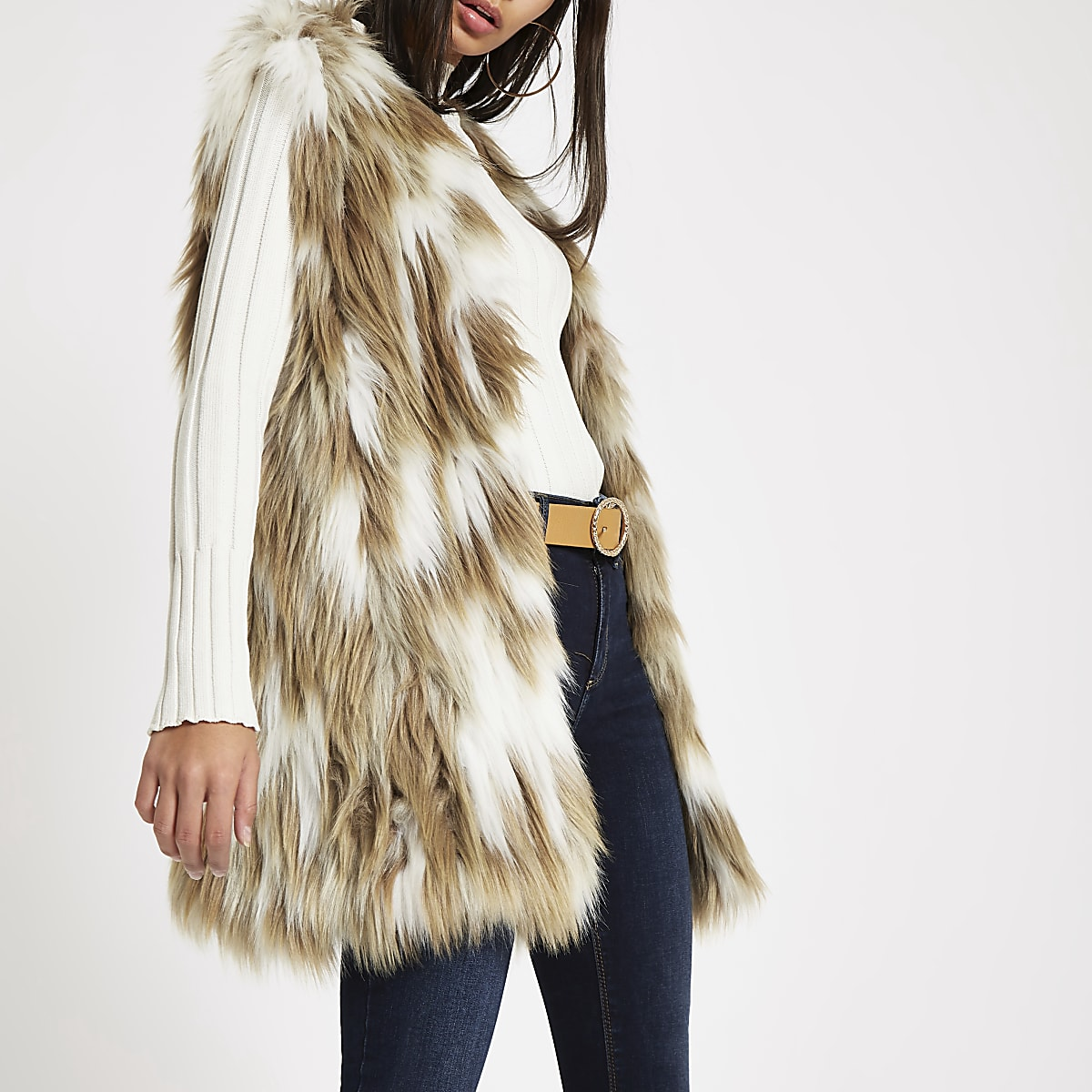 Light brown knitted faux fur gilet