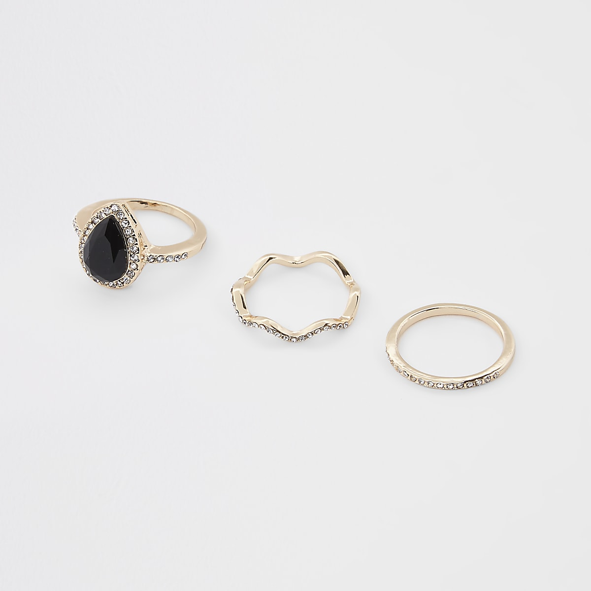 Gold color teardrop rhinestone paved ring pack
