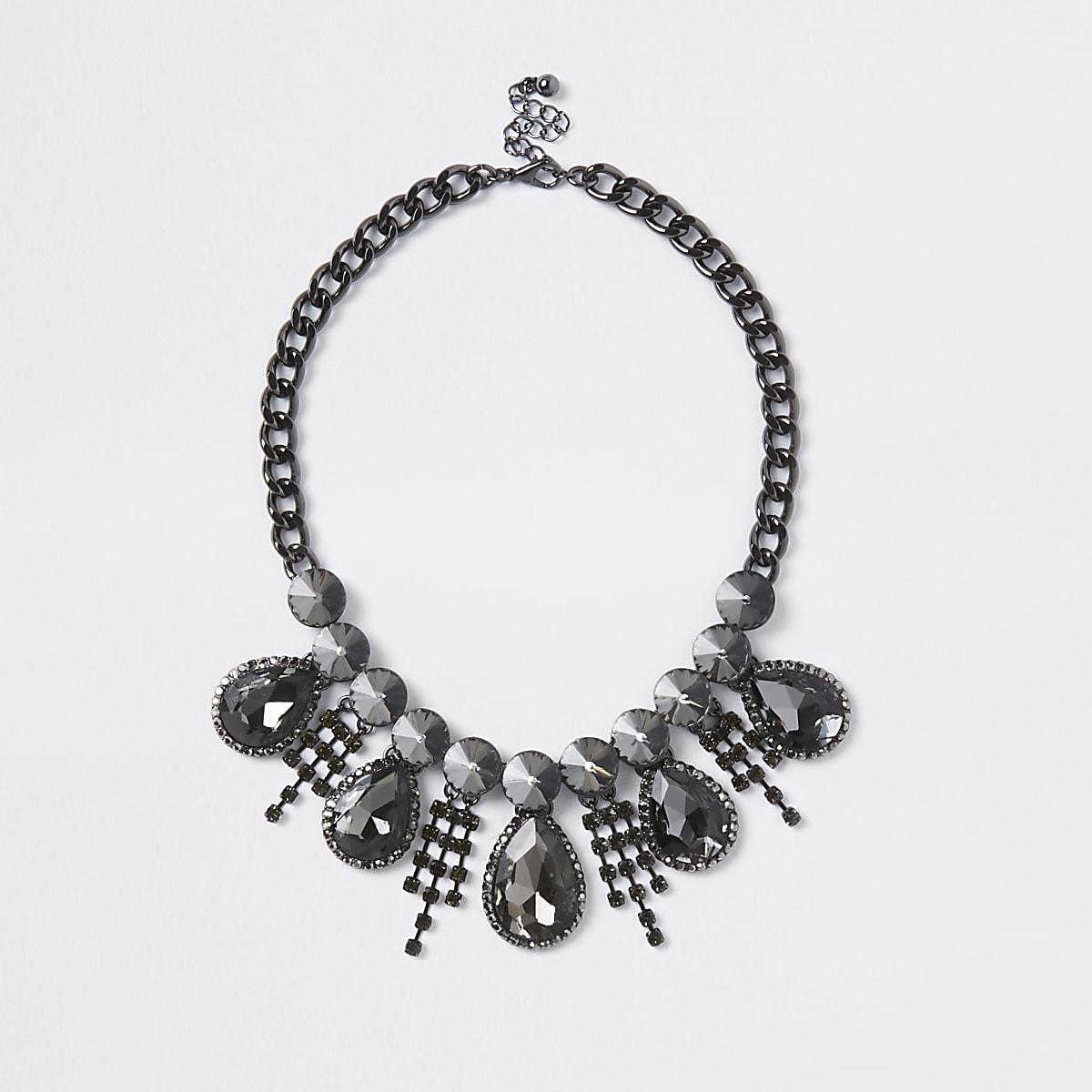 Black diamante teardrop necklace