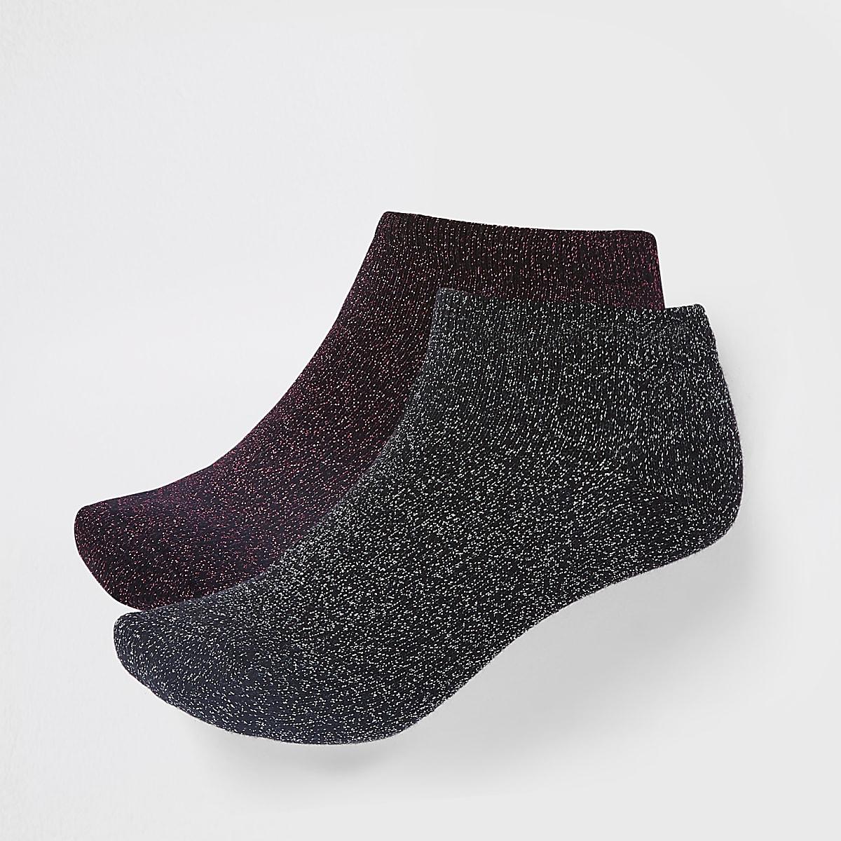 Black metallic stitch trainer socks 2 pack