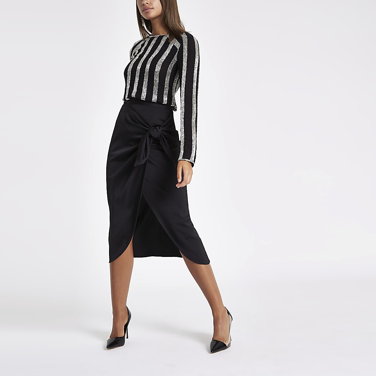 Black satin tie front pencil skirt