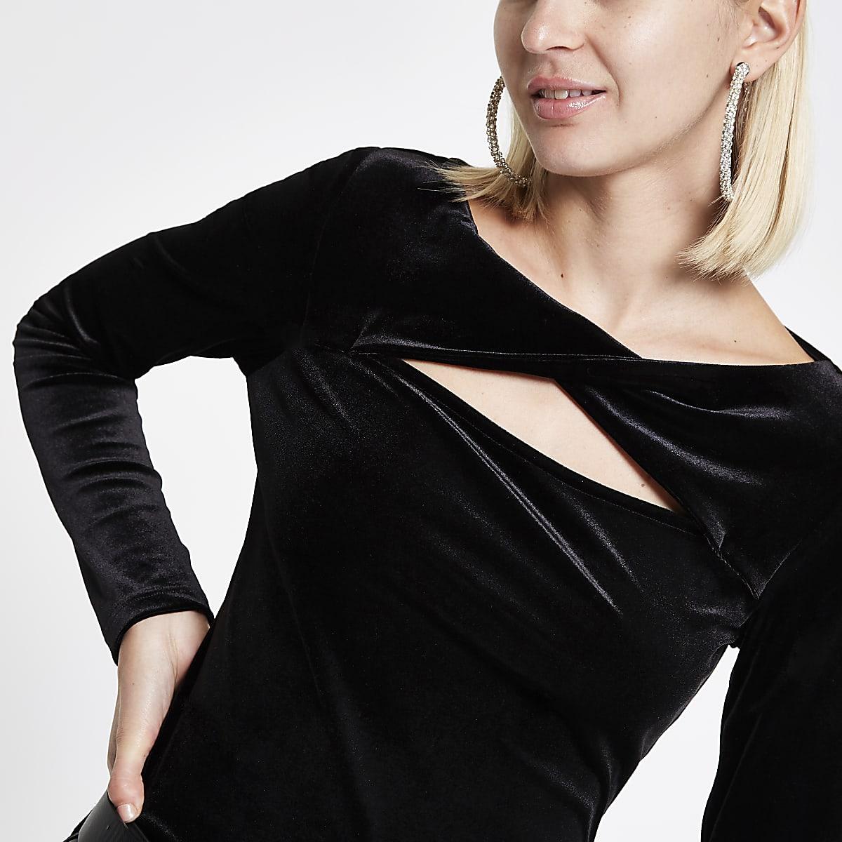 68019688ee0d0c Black velvet twist long sleeve top Black velvet twist long sleeve top ...