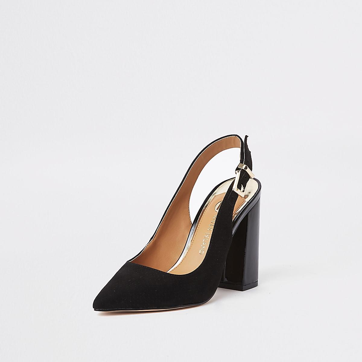 f94790f3797 Black block heel slingback court shoes - Shoes - Shoes   Boots - women