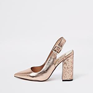 Bright gold block heel slingback pumps