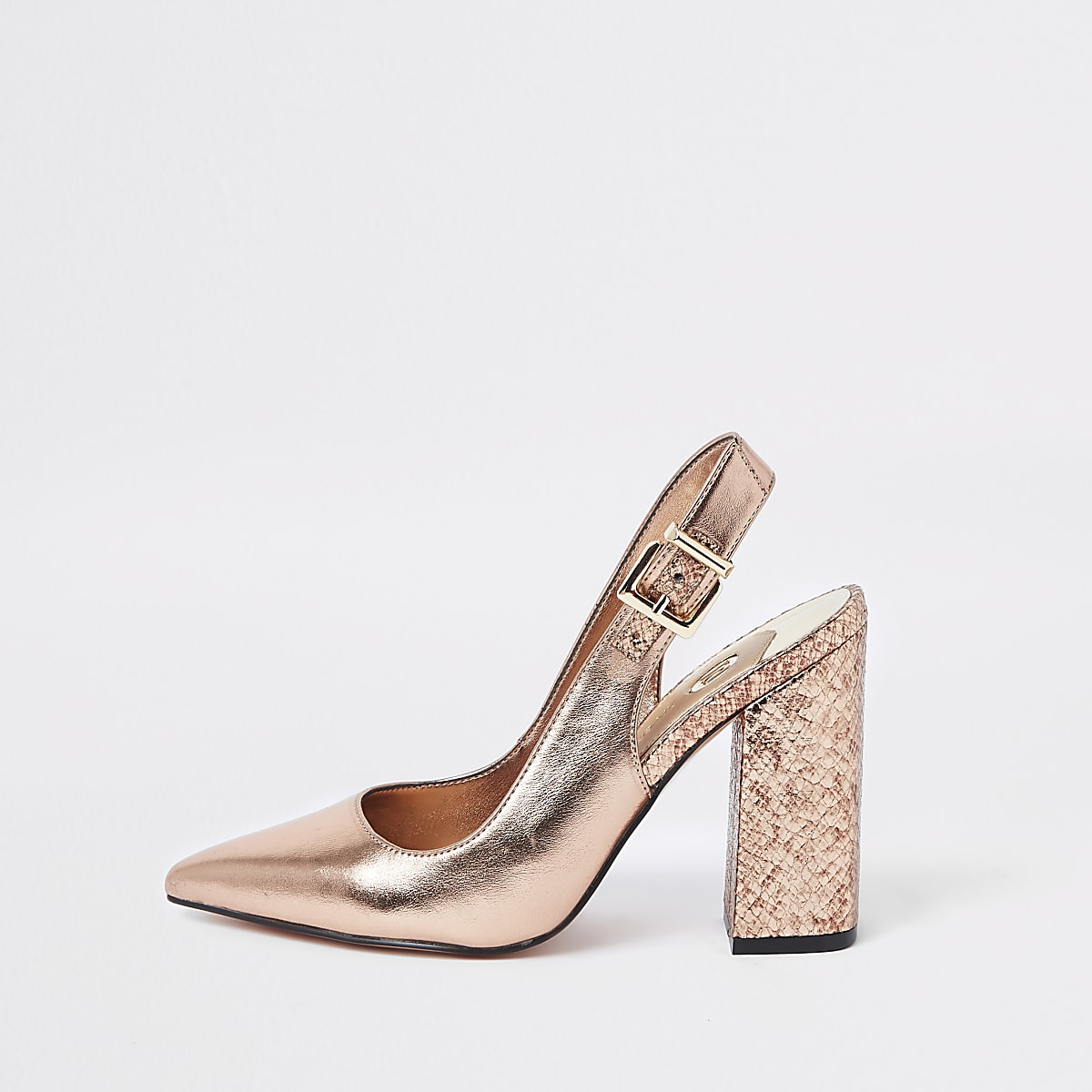 Bright gold block heel slingback court shoes