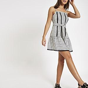 White spot tie waist cami beach dress