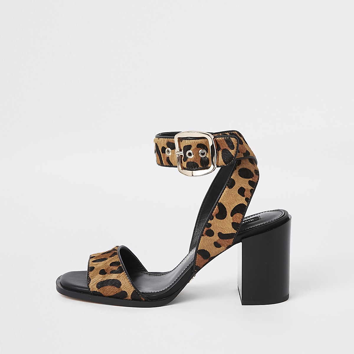 Brown leopard print wrap leather sandals