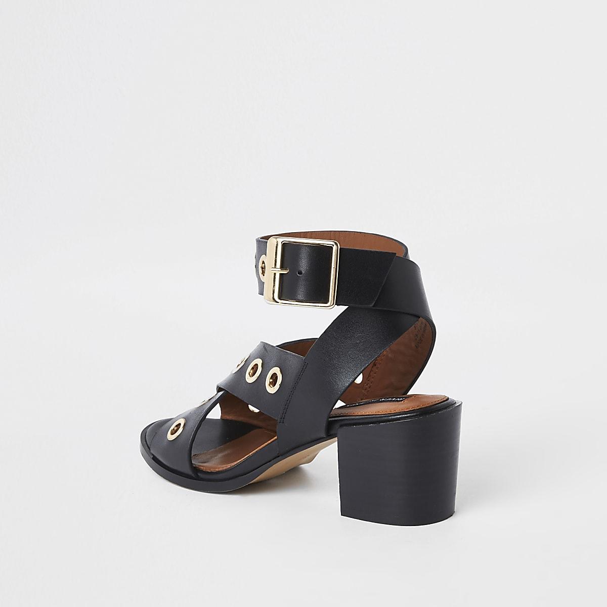 b63d5e359e00 Black leather eyelet block heel sandals - Sandals - Shoes   Boots ...