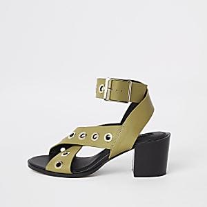 Light green leather eyelet sandals