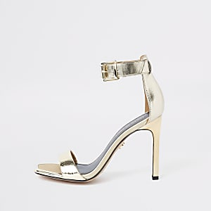 65e447c7b7b Gold barely there square toe sandals
