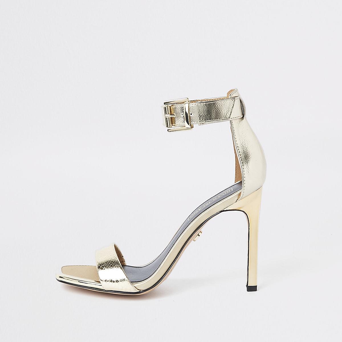Sandales Dorées Minimalistes Carré Chaussures Bout À j354qARL