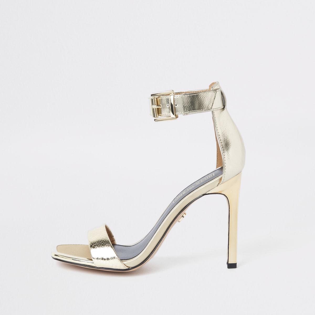 Barely There – Goldene Sandalen mit rechteckiger Zehenpartie