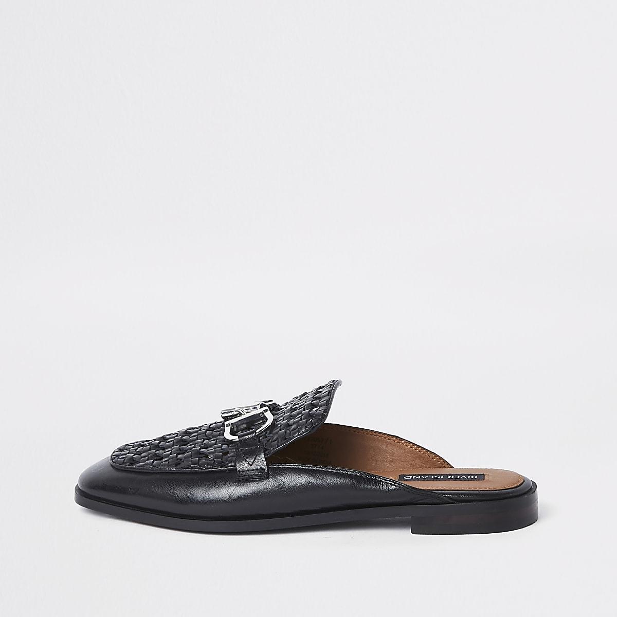 Zwarte geweven leren loafers zonder achterkant