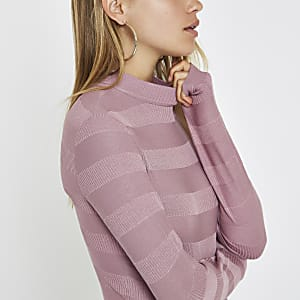 Pink high neck ribbed jumper
