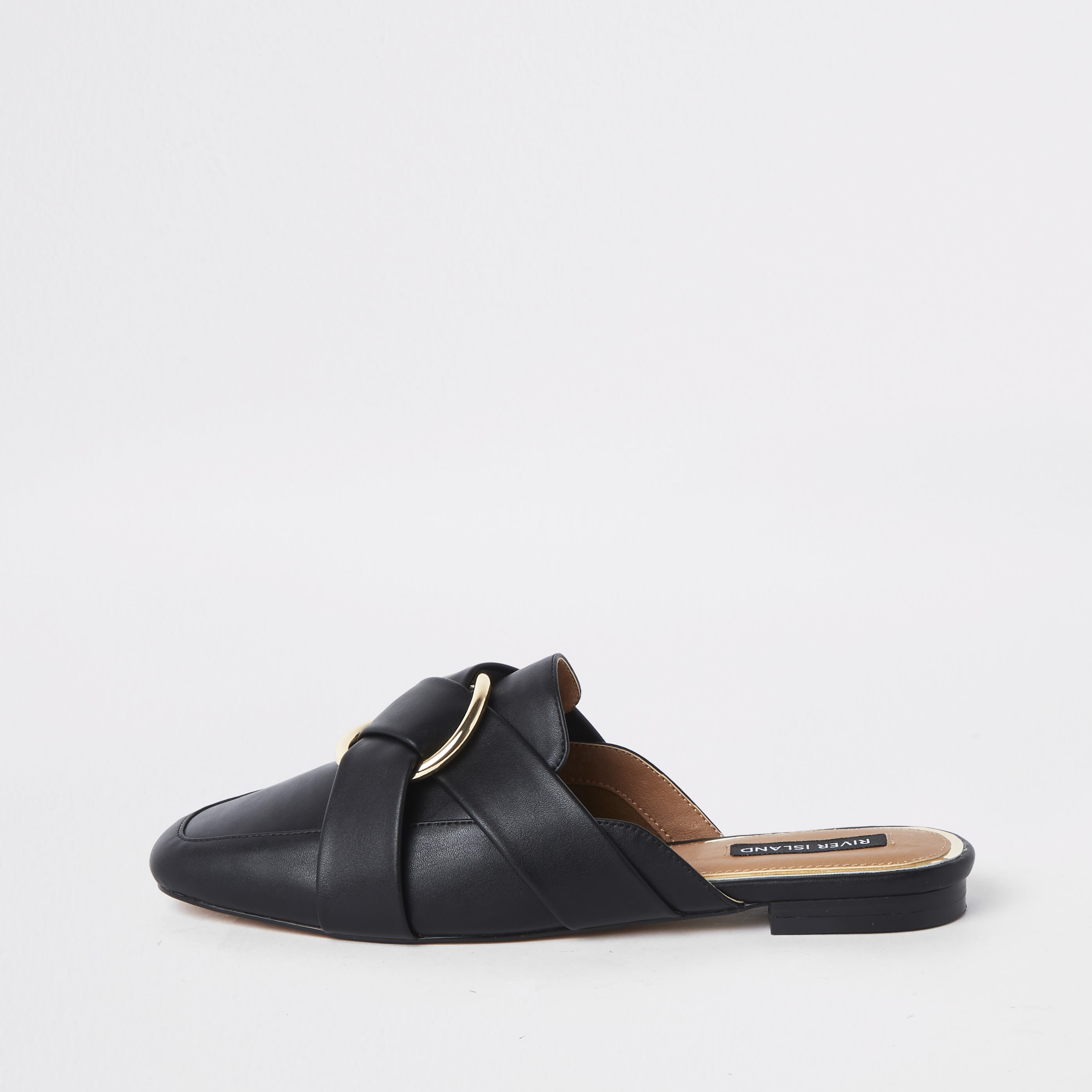 RIVER ISLAND | Womens Black Ring Backless Loafers | Goxip